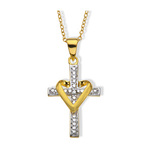 Diamond + Gold Heart Cross Pendant $10
