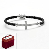 Sterling silver and leather 1 4 ct. t.w. round cut diamond sideways cross bracelet 2013 11 30 10 49 49