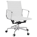 Amazon.com   lexmod ribbed mid back office chair in white genuine leather