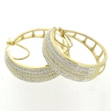 2 cttw diamond hoop earrings