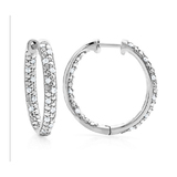 1/4 ctw Diamond, Silver Hoop Earrings $49