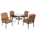 Hampton bay cedarvale 5 piece patio dining set with nutmeg cushions