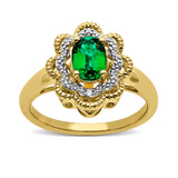 Emerald Ring w/ Diamond Accents $29
