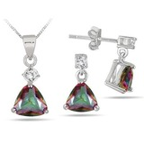 Rainbow Topaz Earrings and Pendant $19+FS