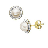 Pearl Earrings in 10K Gold $24 Shipped
