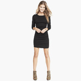 Lack ruched sweater dress