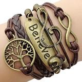 Multilayer believe wrap bracelet