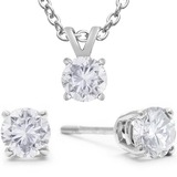 Diamond earrings and pendant