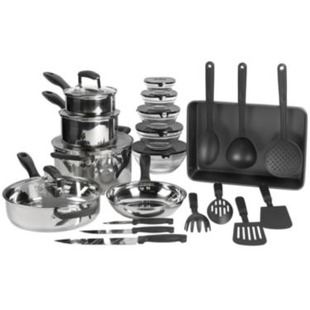 25pc stainless cookware 25 after rebate. Black Bedroom Furniture Sets. Home Design Ideas